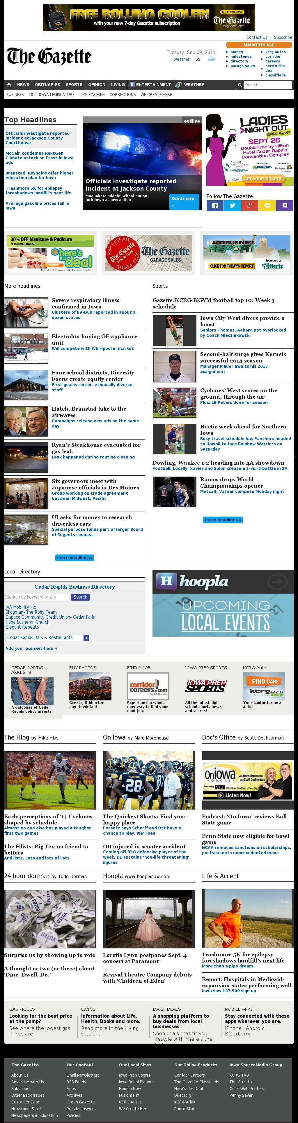 The (Cedar Rapids) Gazette at Tuesday Sept. 9, 2014, 6:07 p.m. UTC