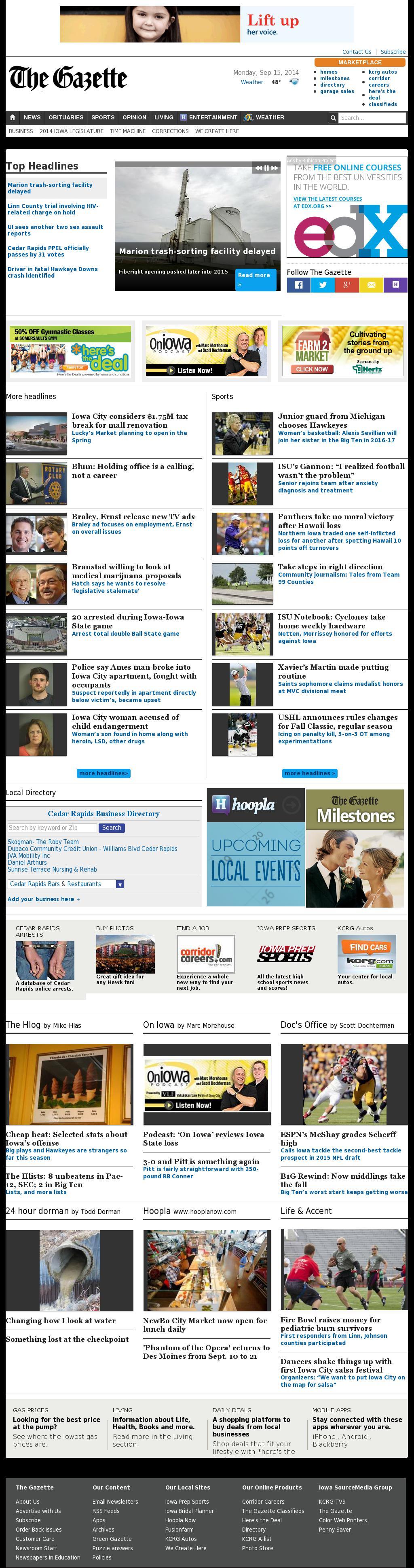 The (Cedar Rapids) Gazette at Tuesday Sept. 16, 2014, 5:05 a.m. UTC