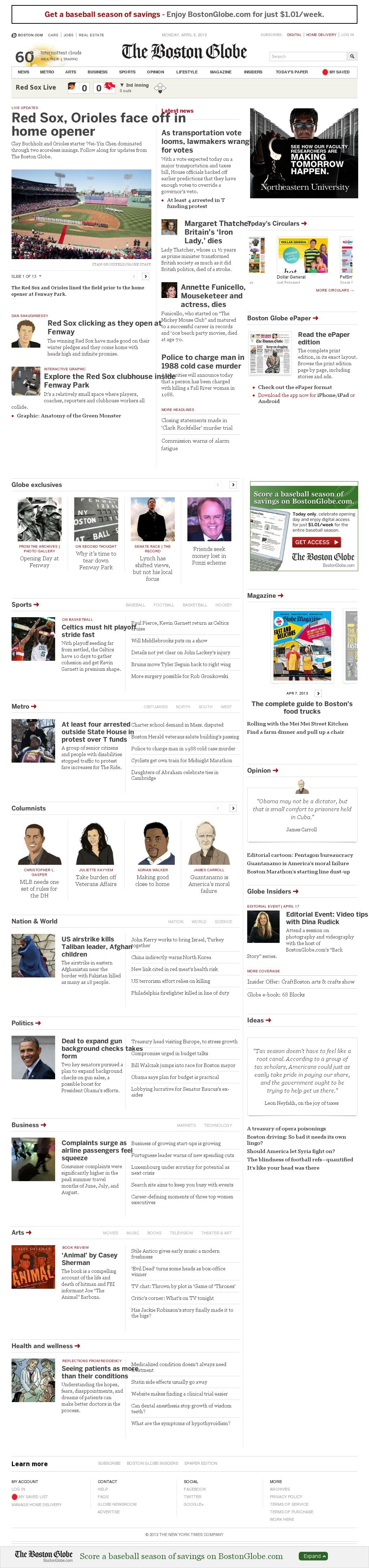 The Boston Globe at Monday April 8, 2013, 7:02 p.m. UTC