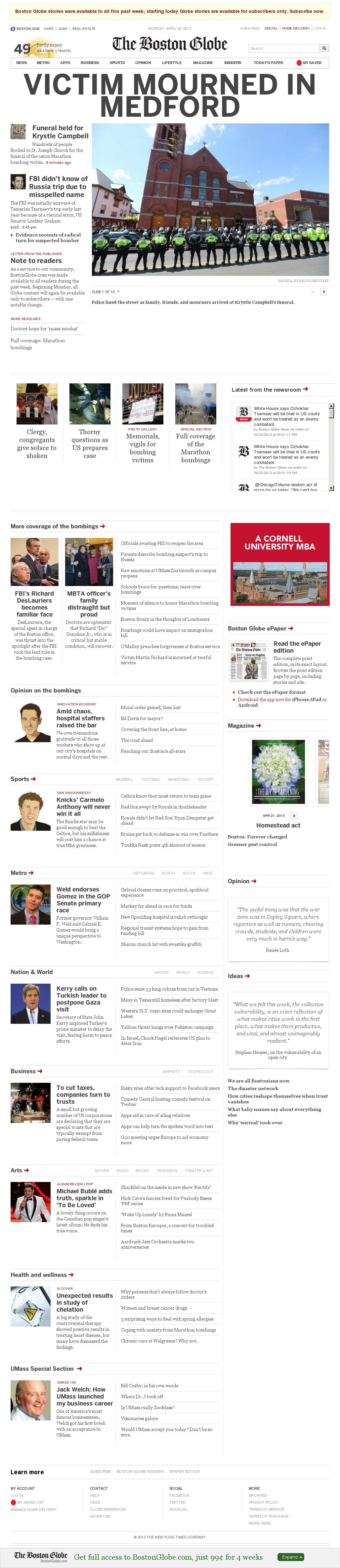 The Boston Globe at Monday April 22, 2013, 5:02 p.m. UTC