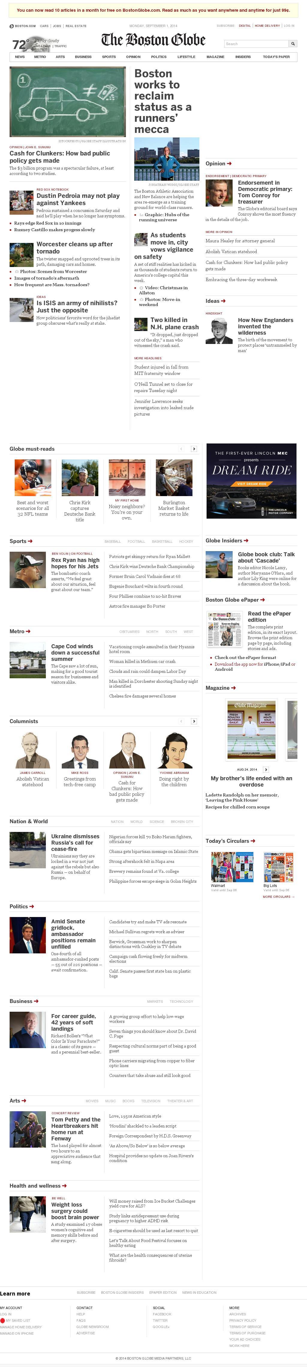 The Boston Globe at Tuesday Sept. 2, 2014, 12:01 a.m. UTC
