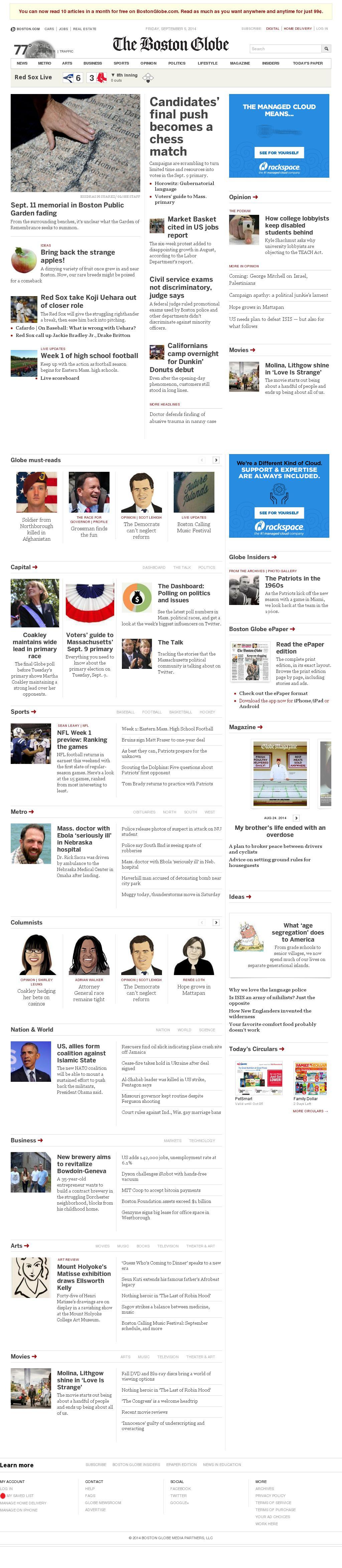 The Boston Globe at Saturday Sept. 6, 2014, 2:02 a.m. UTC