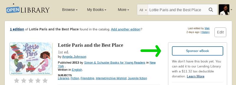 Book Sponsorship Screenshot