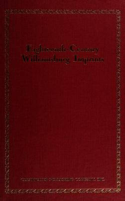 Cover of: Eighteenth-century Williamsburg imprints | Susan Stromei Berg