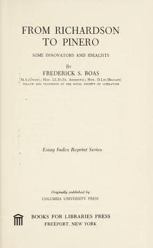 Cover of: From Richardson to Pinero   Frederick S. Boas