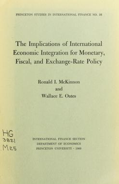 Cover of: The implications of international economic integration for monetary, fiscal, and exchange-rate policy | Ronald I. McKinnon